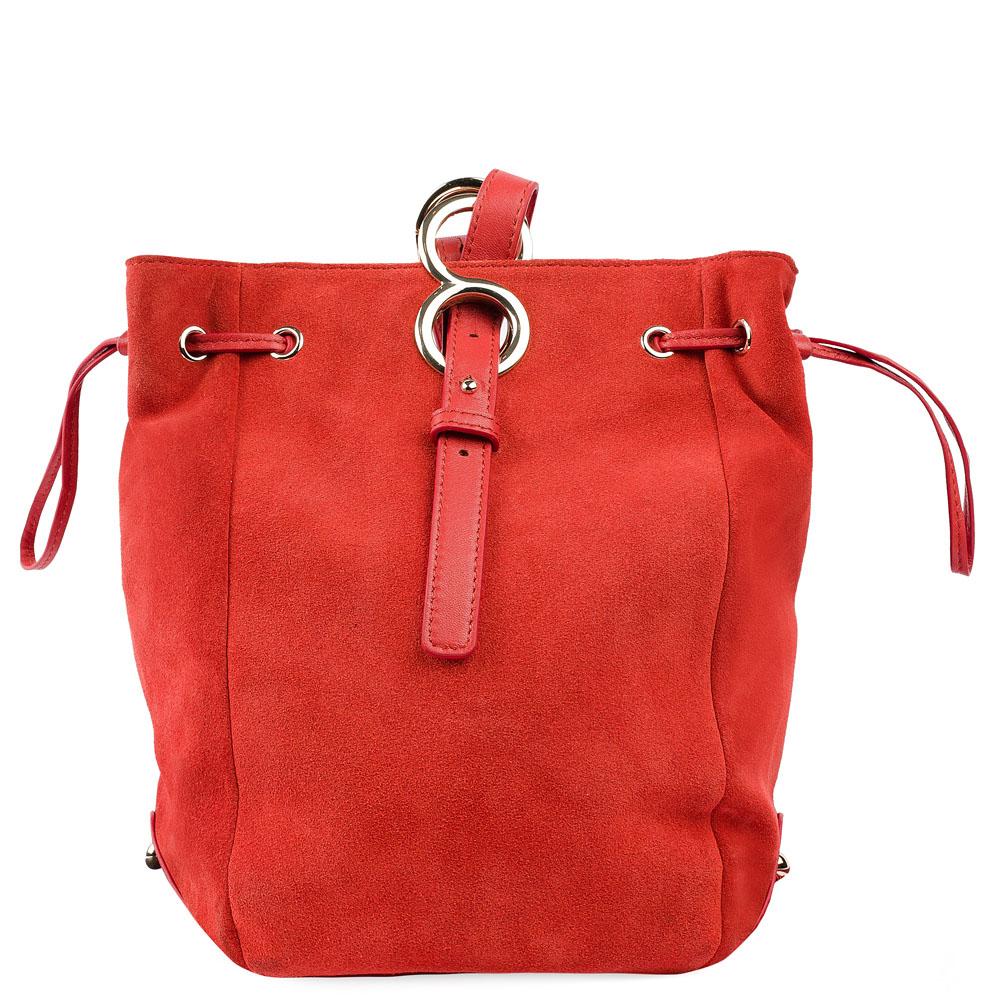 Замшевая сумка-торба алого цвета