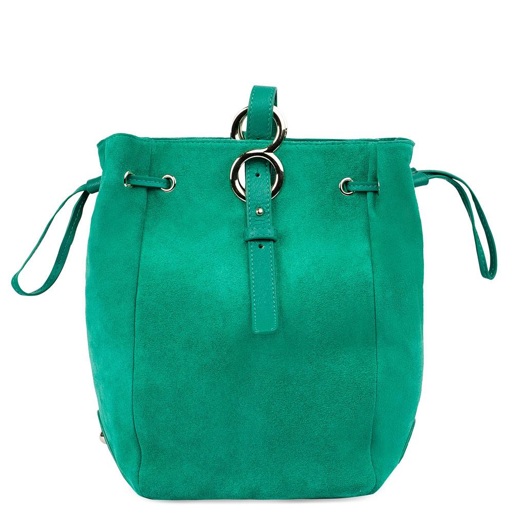 Замшевая сумка-торба темно-бирюзового цвета