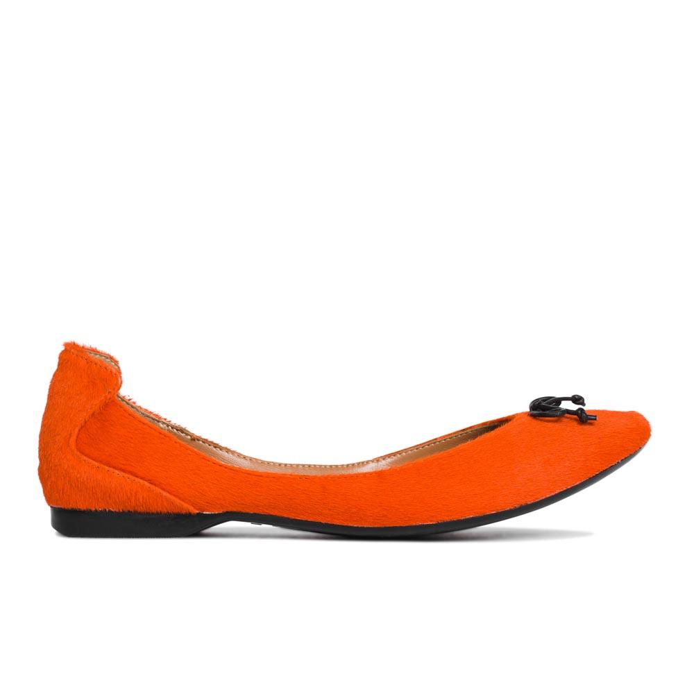 Балетки из меха пони огненно-оранжевого цвета с бантом