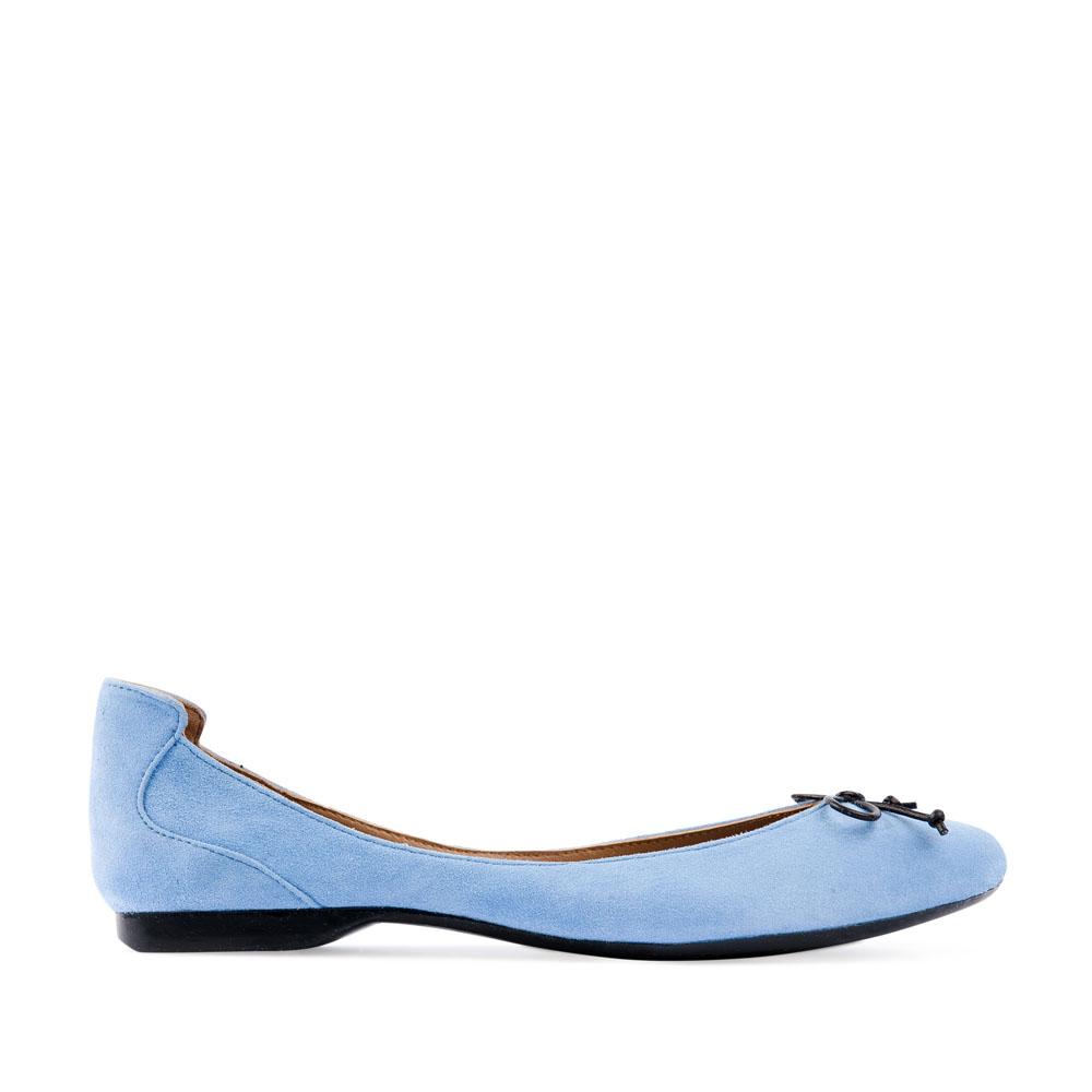 Замшевые балетки небесно-голубого цвета с кожаным бантом