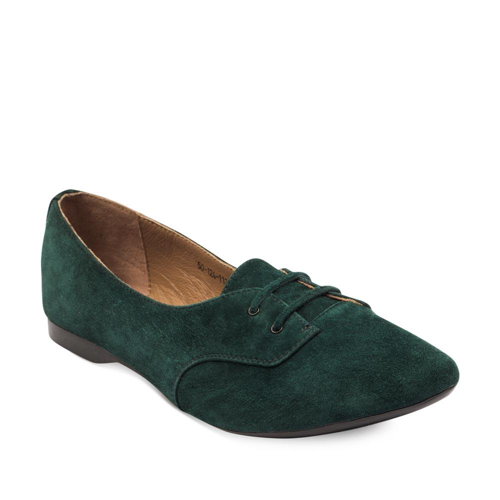 Женские ботинки CorsoComo (Корсо Комо) Замшевые полуботинки изумрудного цвета на шнуровке