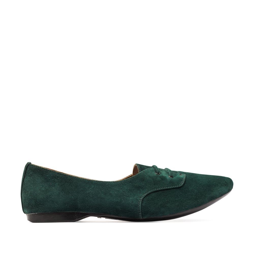 CORSOCOMO Замшевые полуботинки изумрудного цвета на шнуровке 50-124-112335
