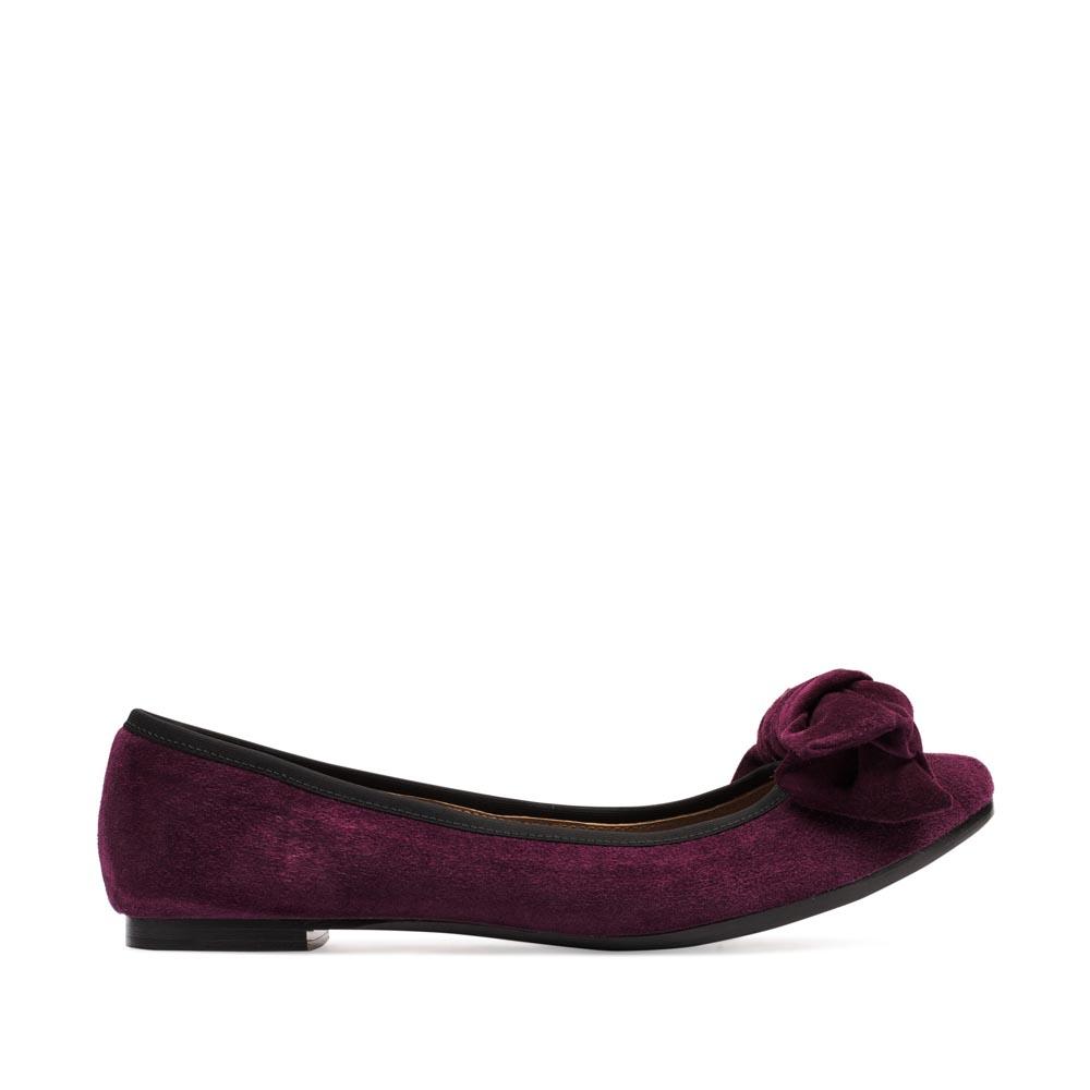 CORSOCOMO Классические балетки из замши пурпурного цвета с бантом 50-124-113045-5
