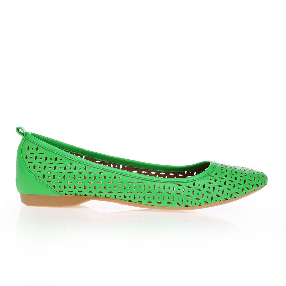 CORSOCOMO Перфорированные балетки из кожи ярко-зеленого цвета 50-124-74435G1