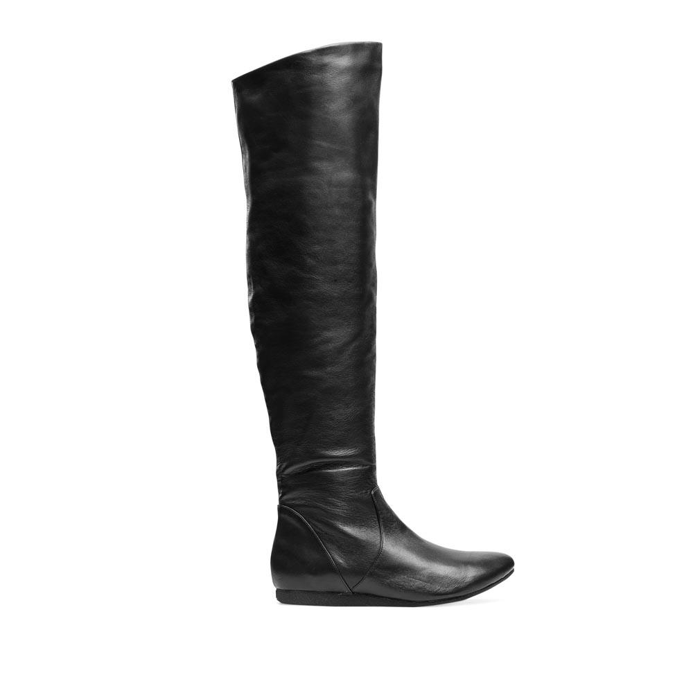 CORSOCOMO Кожаные ботфорты черного цвета 50-324-80501