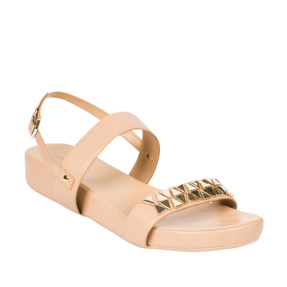 Женские сандалии CorsoComo (Корсо Комо) Кожаные сандалии на широкой подошве с заклепками золотого цвета