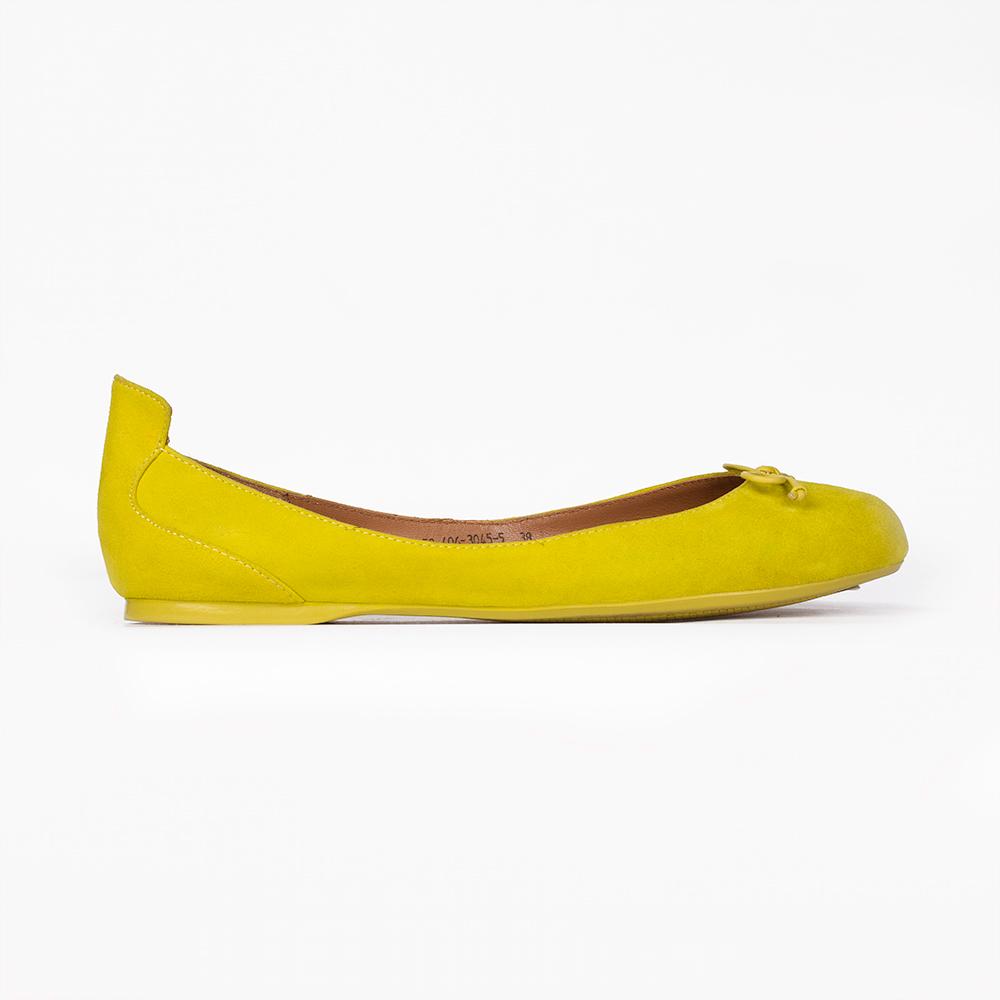 Балетки из замши неоново-желтого цвета с бантом