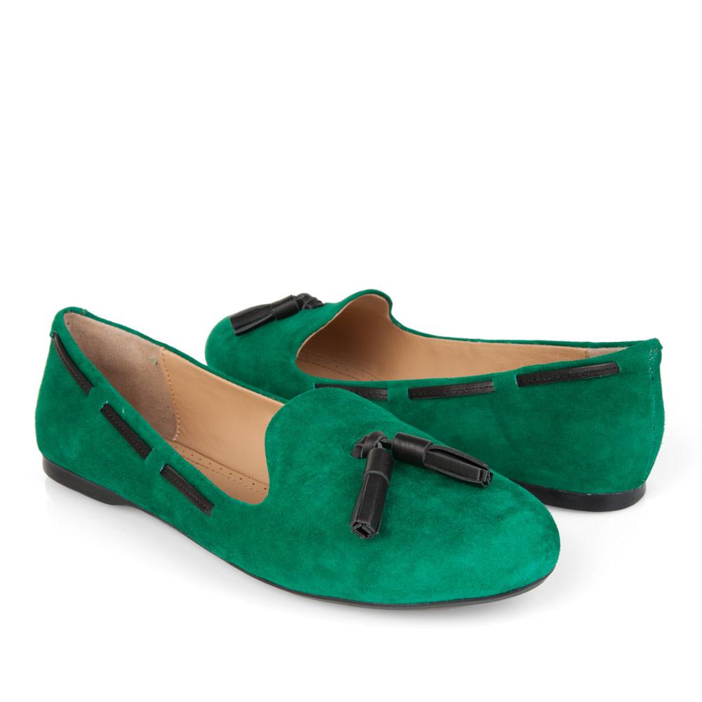 Туфли на плоской подошве CorsoComo (Корсо Комо) Слиперы из замши зеленого цвета с кисточкой