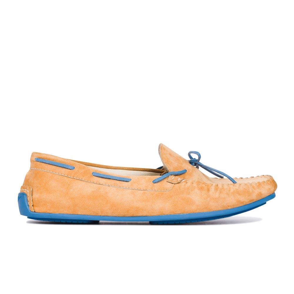 CORSOCOMO Замшевые мокасины персикового цвета с контрастными вставками 50-443-1026