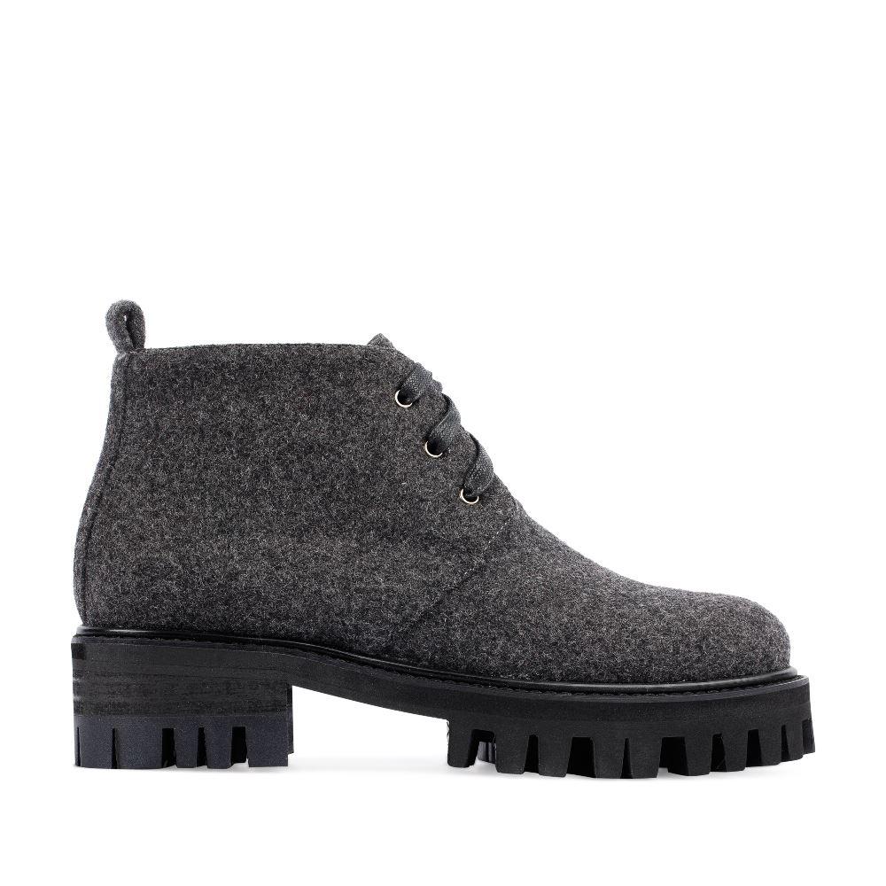 Ботинки из шерсти серого цвета на протекторной подошве