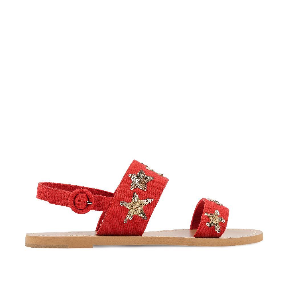 Сандалии из текстиля красного цвета с пайетками