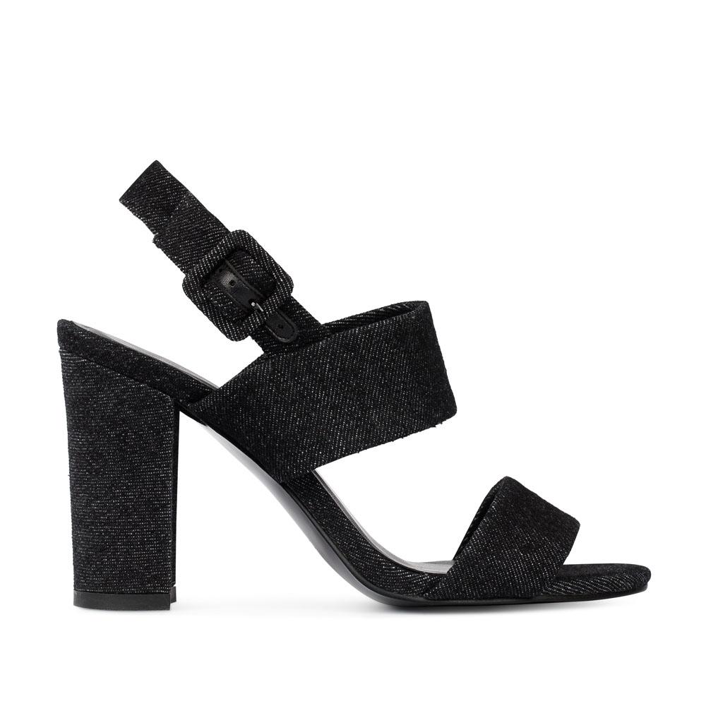 CORSOCOMO Босоножки из денима черного цвета на устойчивом каблуке 52-204-X1089-2