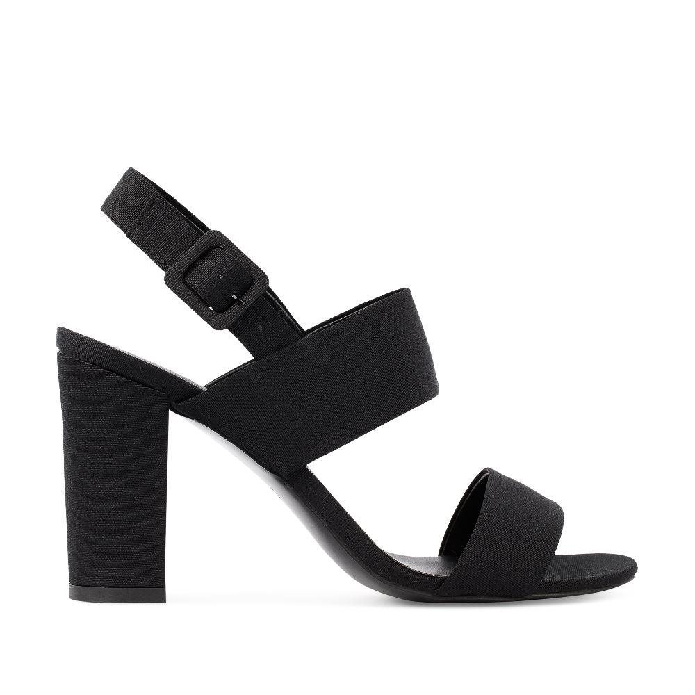 CORSOCOMO Босоножки из текстиля черного цвета на широком каблуке 52-204-X1089-3