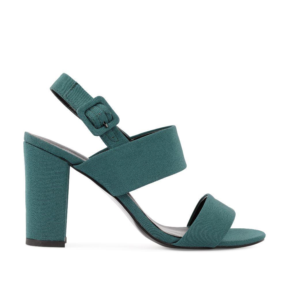 CORSOCOMO Босоножки из текстиля зеленого цвета на широком каблуке 52-204-X1089-4