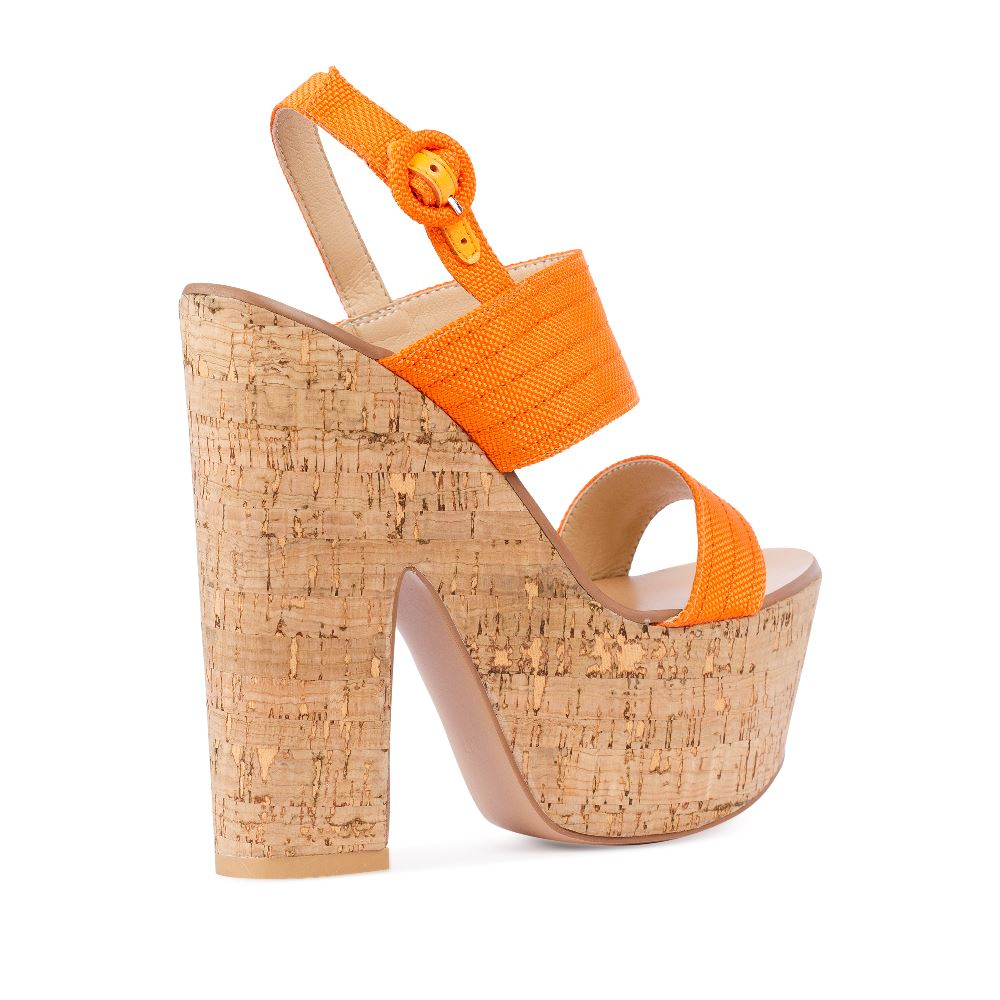 Женские босоножки CorsoComo (Корсо Комо) 52-H20-X511-1 т.п. Туфли жен текстиль оранж.
