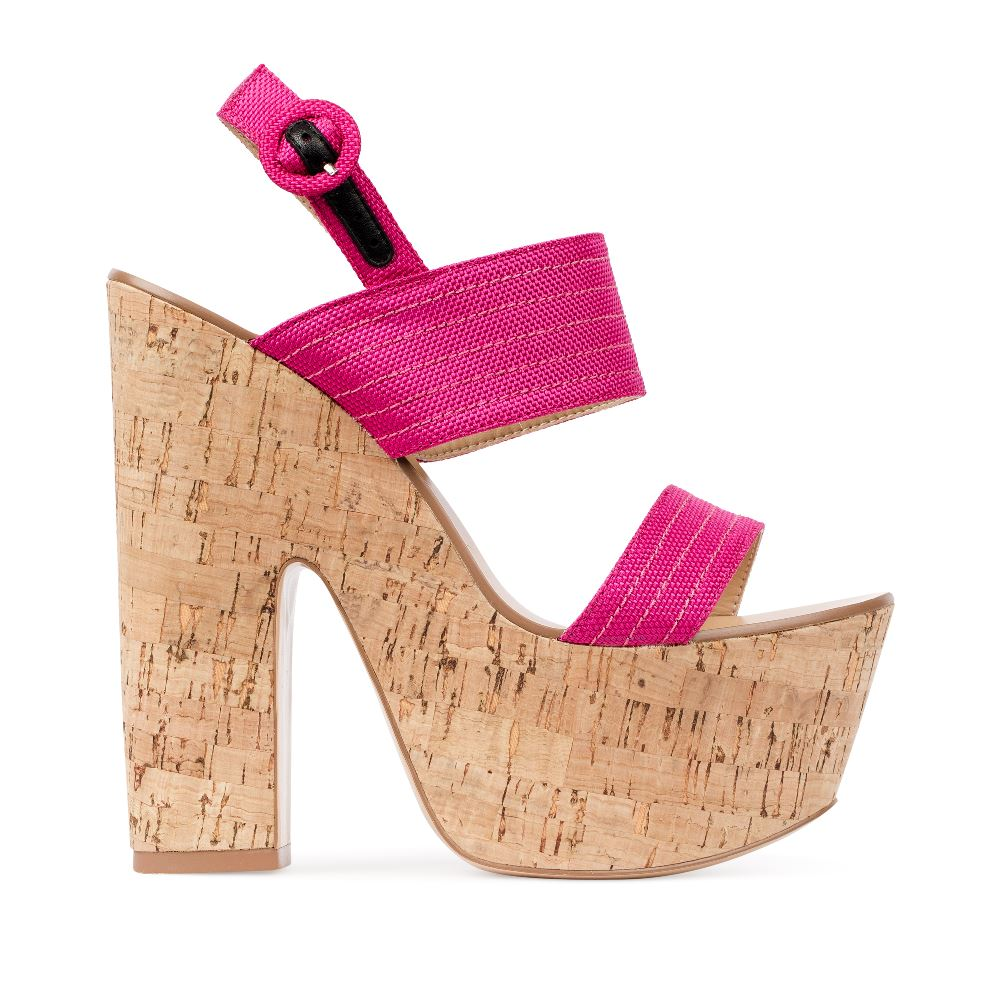 Босоножки на пробковой платформе и каблуке розового цвета