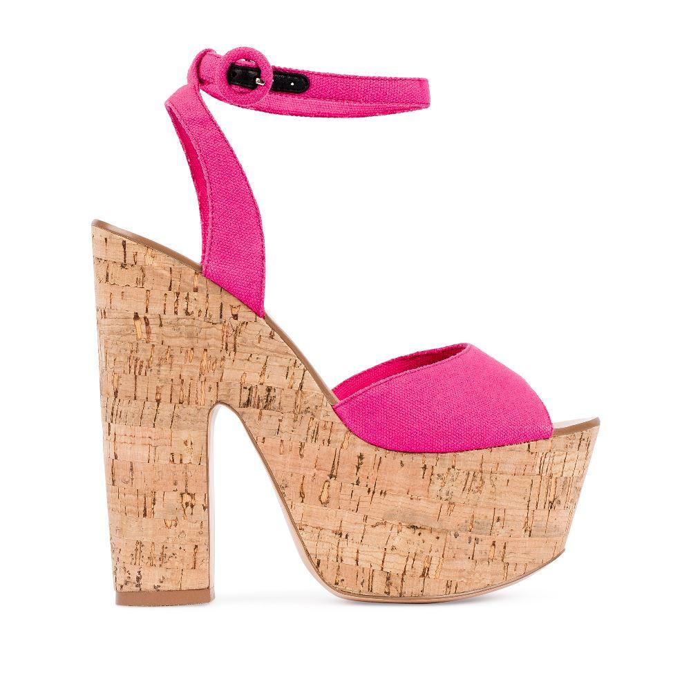 Босоножки из текстиля цвета фуксии на платформеТуфли женские<br><br>Материал верха: Текстиль<br>Материал подкладки: Текстиль<br>Материал подошвы: Резина<br>Цвет: Розовый<br>Высота каблука: 15 см<br>Дизайн: Италия<br>Страна производства: Китай<br><br>Высота каблука: 15 см<br>Материал верха: Текстиль<br>Материал подошвы: Резина<br>Материал подкладки: Текстиль<br>Цвет: Розовый<br>Вес кг: 1.00000000<br>Размер: 38