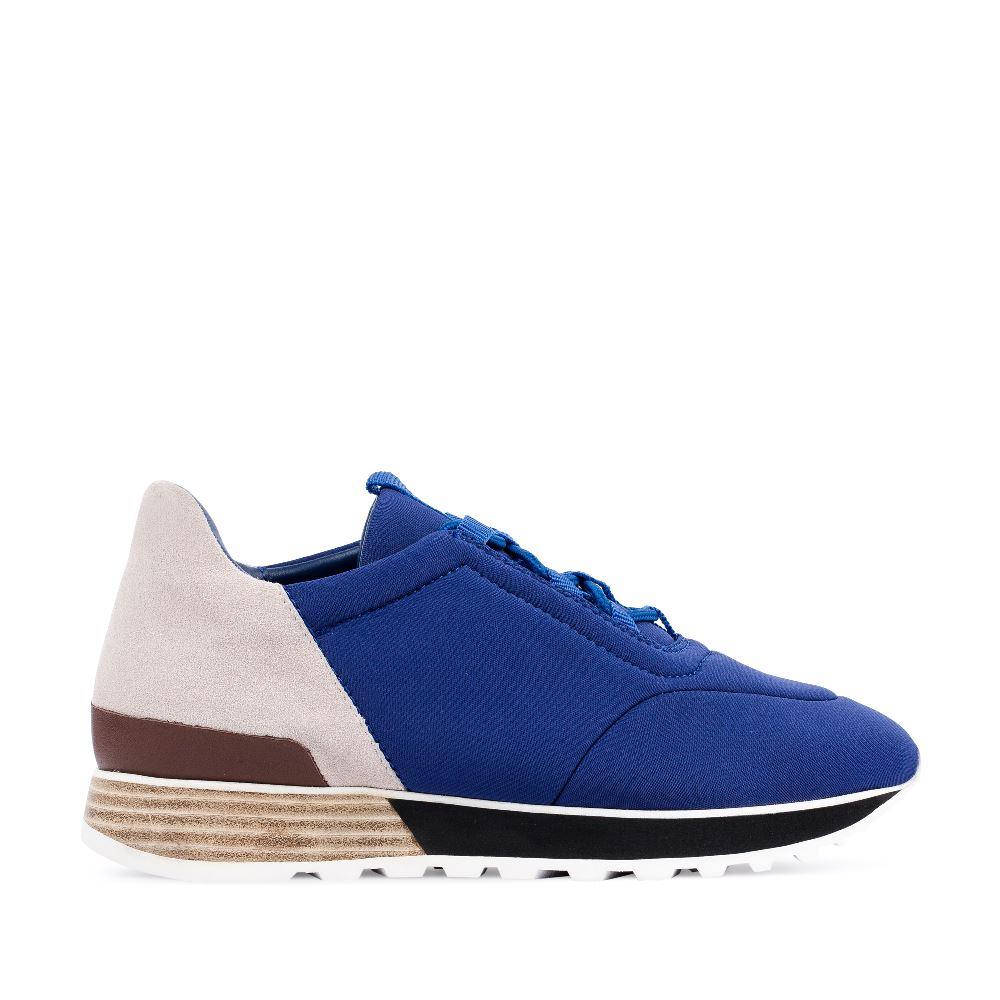 Кроссовки из замши и неопрена синего цвета