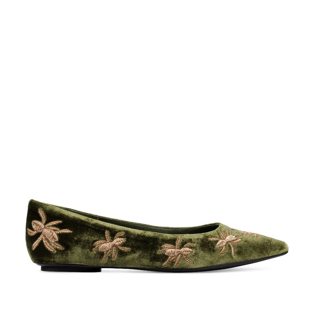 CORSOCOMO Балетки из бархата оливкового цвета с вышивкой 60-25-606-11-2