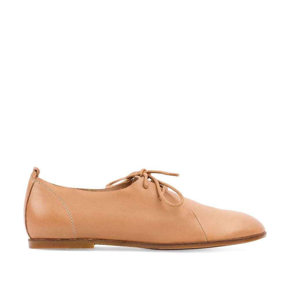Ботинки бежевого цвета из кожи на шнуровке
