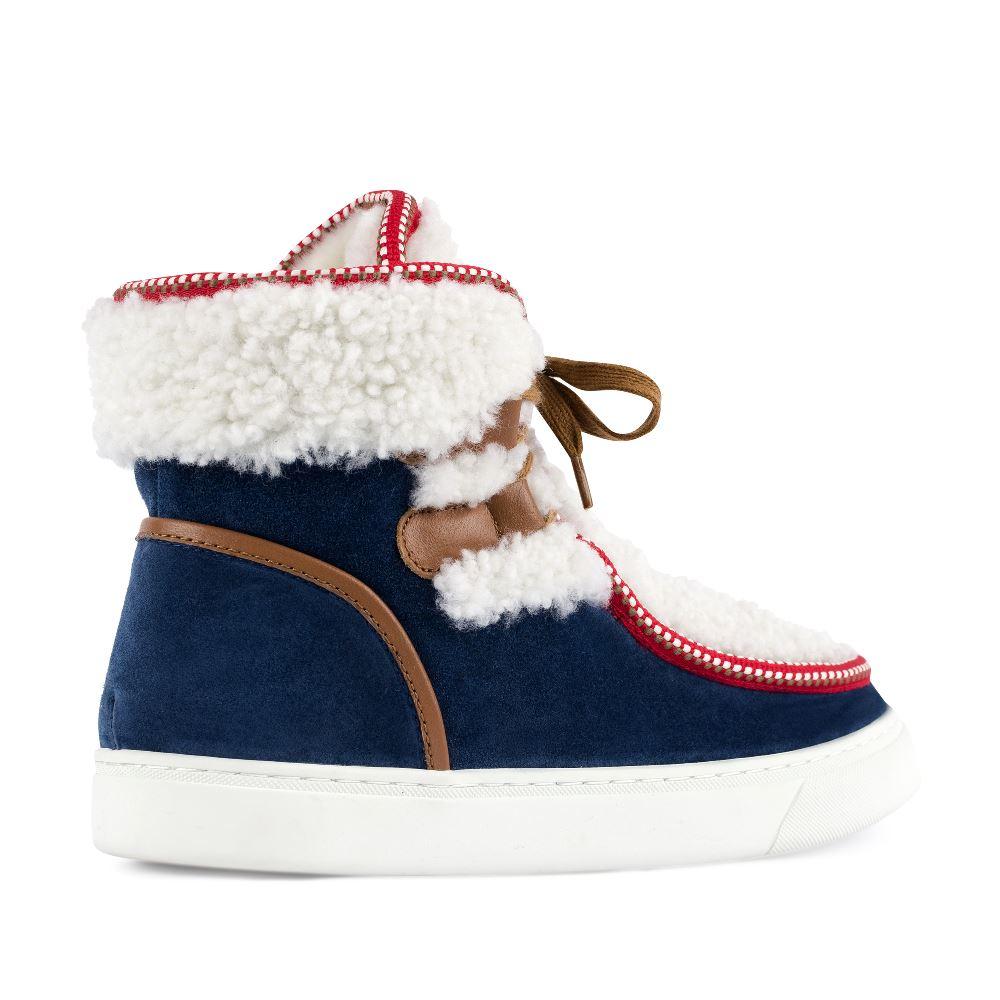 Женские ботинки CorsoComo (Корсо Комо) Ботинки из замши синего цвета с мехом