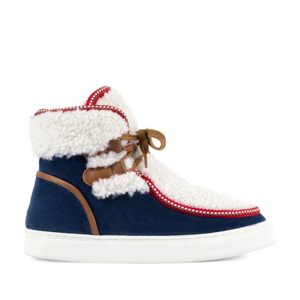 Ботинки из замши синего цвета с мехом
