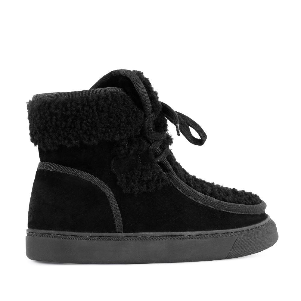 Женские ботинки CorsoComo (Корсо Комо) Ботинки из замши с мехом черного цвета