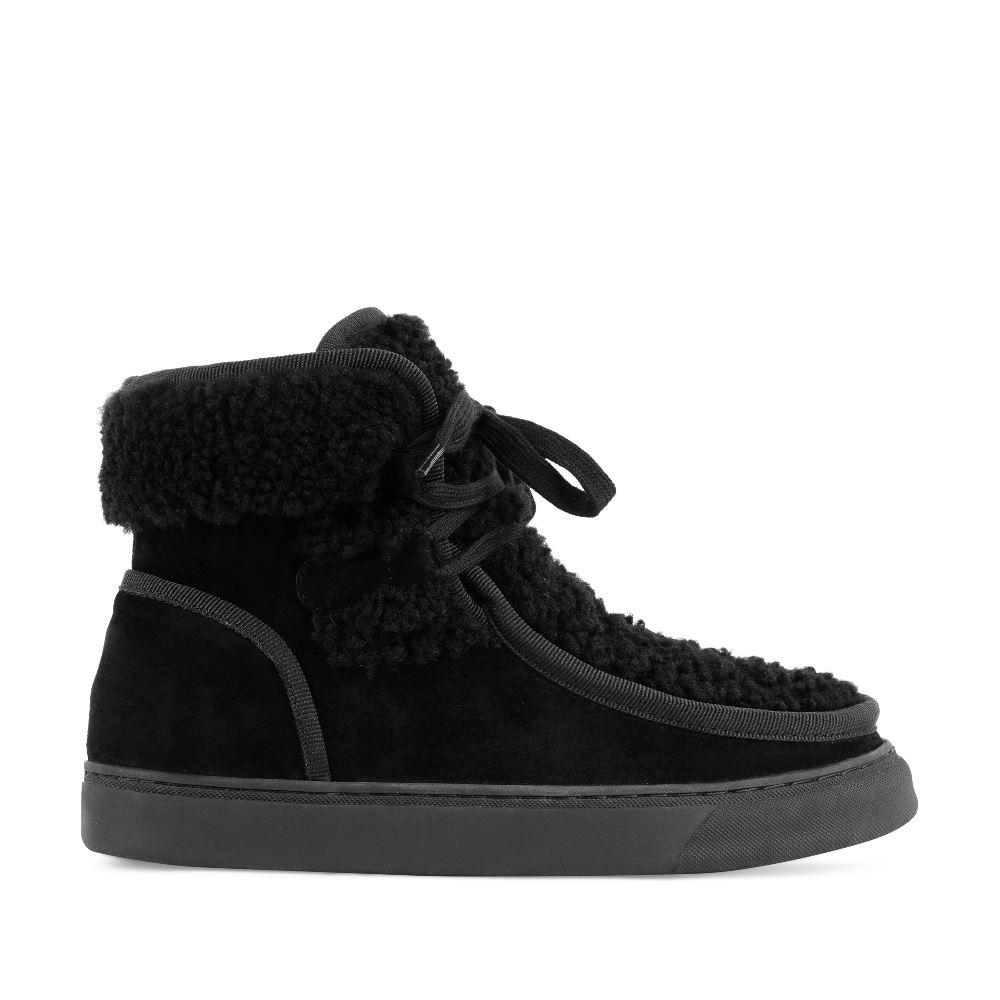 Ботинки из замши с мехом черного цвета