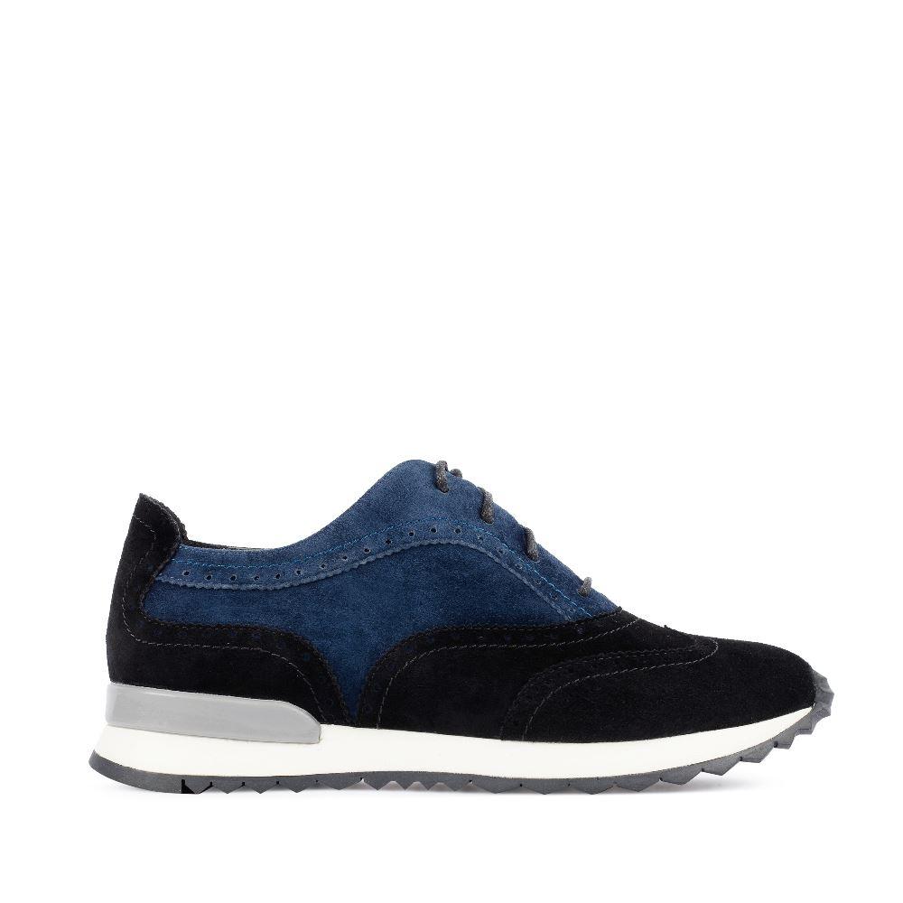 Кроссовки из замши черного и синего цветов
