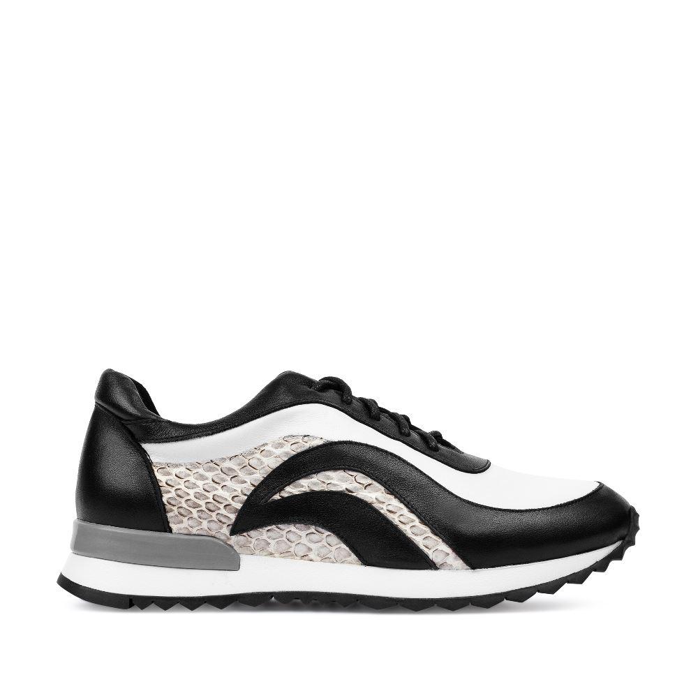 Кроссовки чёрно-белого цвета со вставками из кожи змеи 61-871-80101