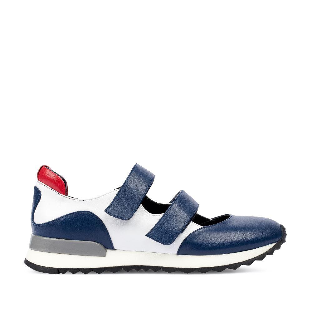 Кроссовки из кожи синего и белого цветов на липучках