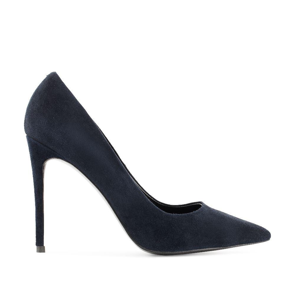 Туфли-лодочки из замши синего цвета на высоком каблуке