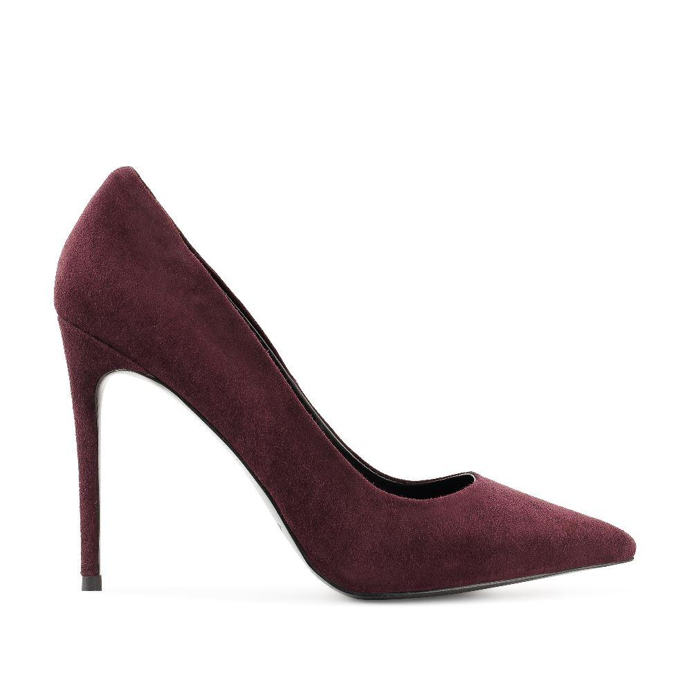 Туфли-лодочки из замши бордового цвета на высоком каблуке