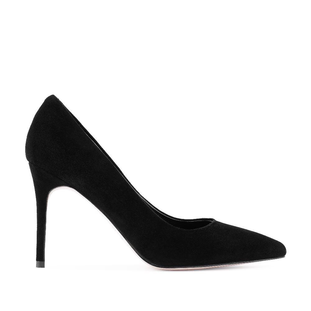Туфли-лодочки черного цвета из замши