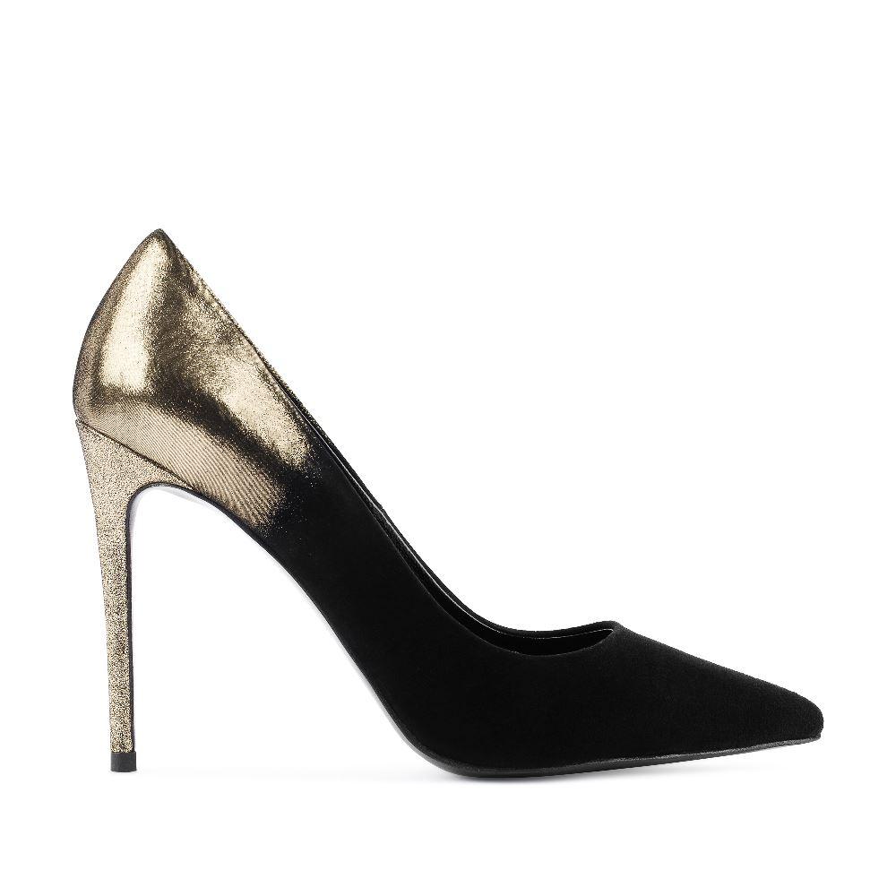 Туфли-лодочки из замши черного и золотого цветов