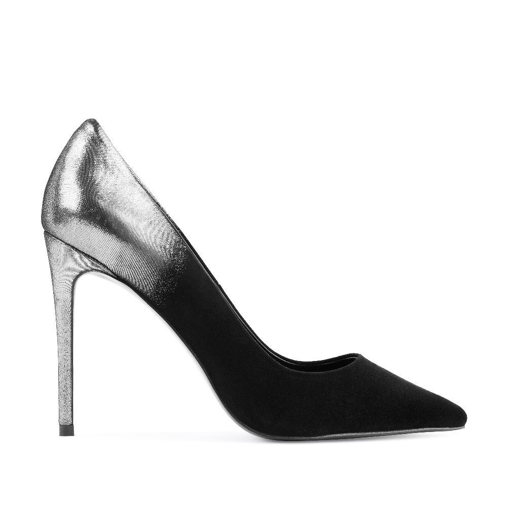 Туфли-лодочки из замши черного и серебряного цветов