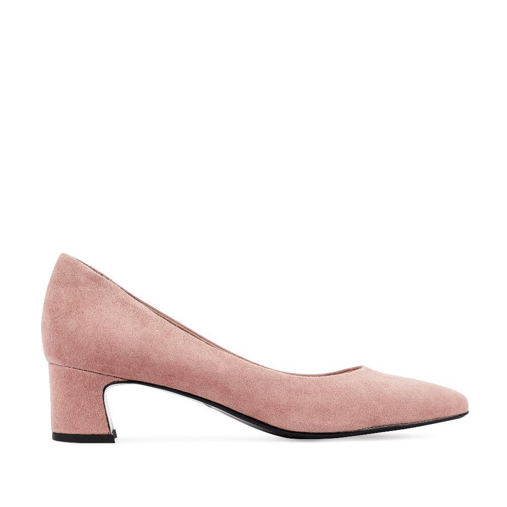 Туфли из замши розового цвета на устойчивом каблуке