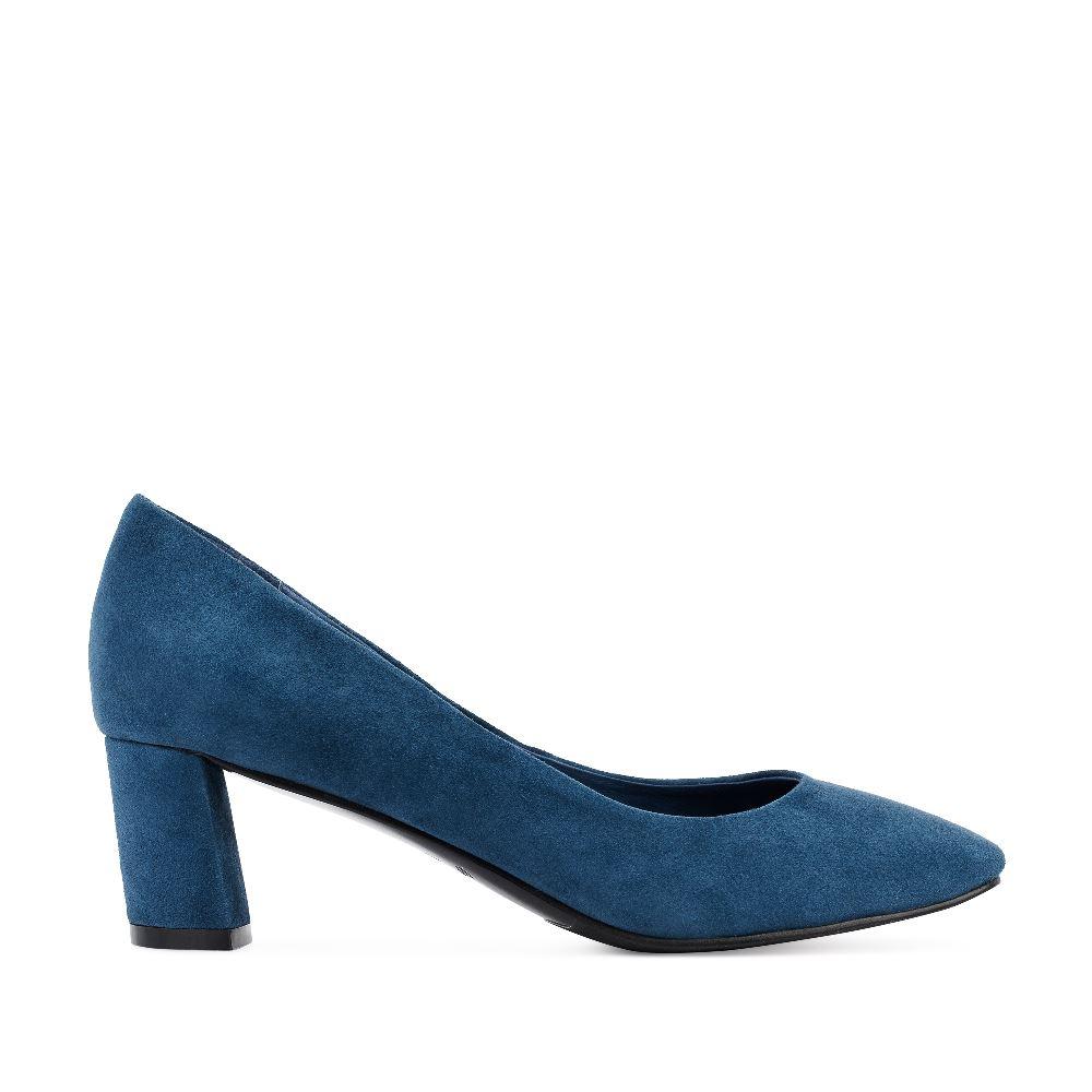 Туфли синего цвета из замши на устойчивом каблуке