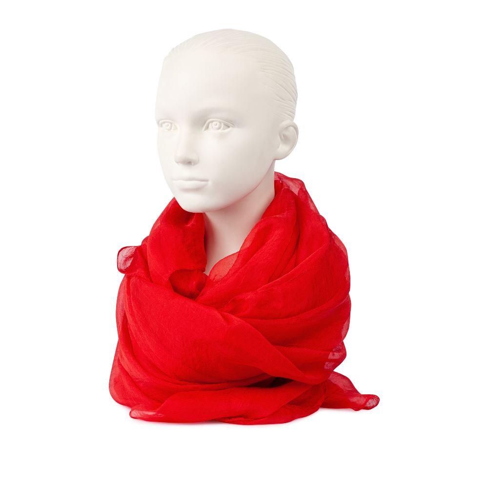 Шарф красного цвета из шелка