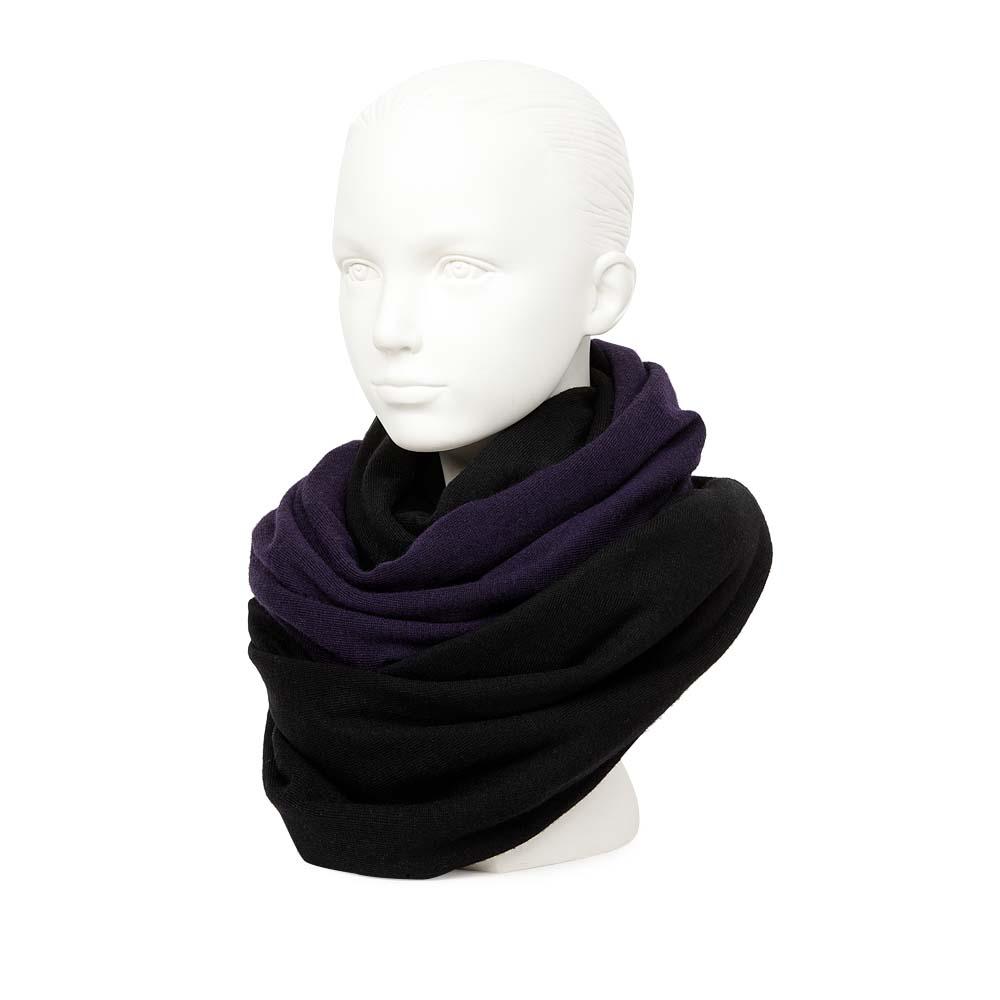 Двусторонний шарф черного и фиолетового цвета