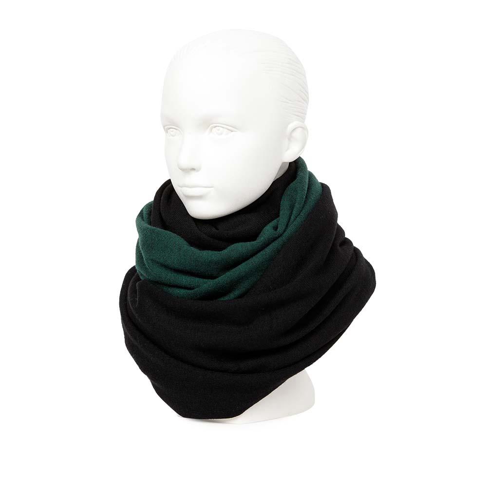 Двусторонний шарф черного и изумрудного цвета