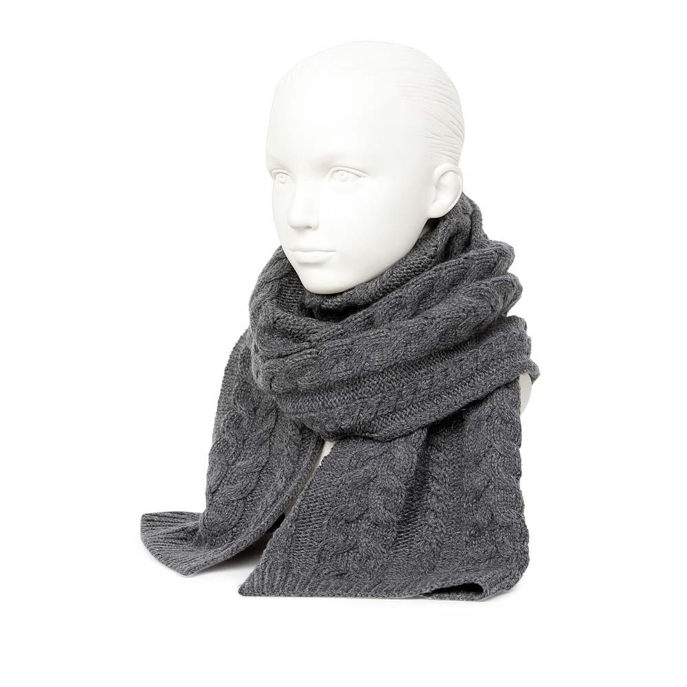 Шерстяной шарф серого цвета с объемным узором