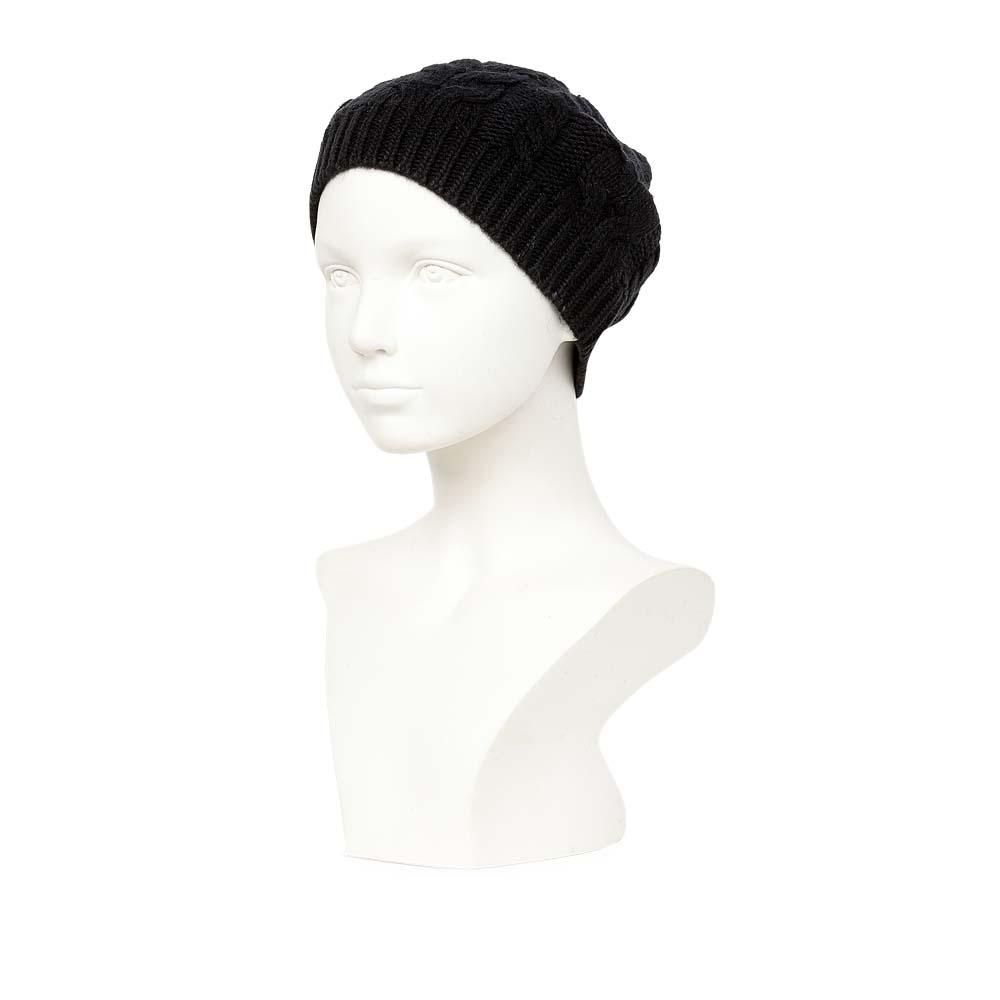 CORSOCOMO Шапка из шерсти черного цвета с объемным узором 77-200-4