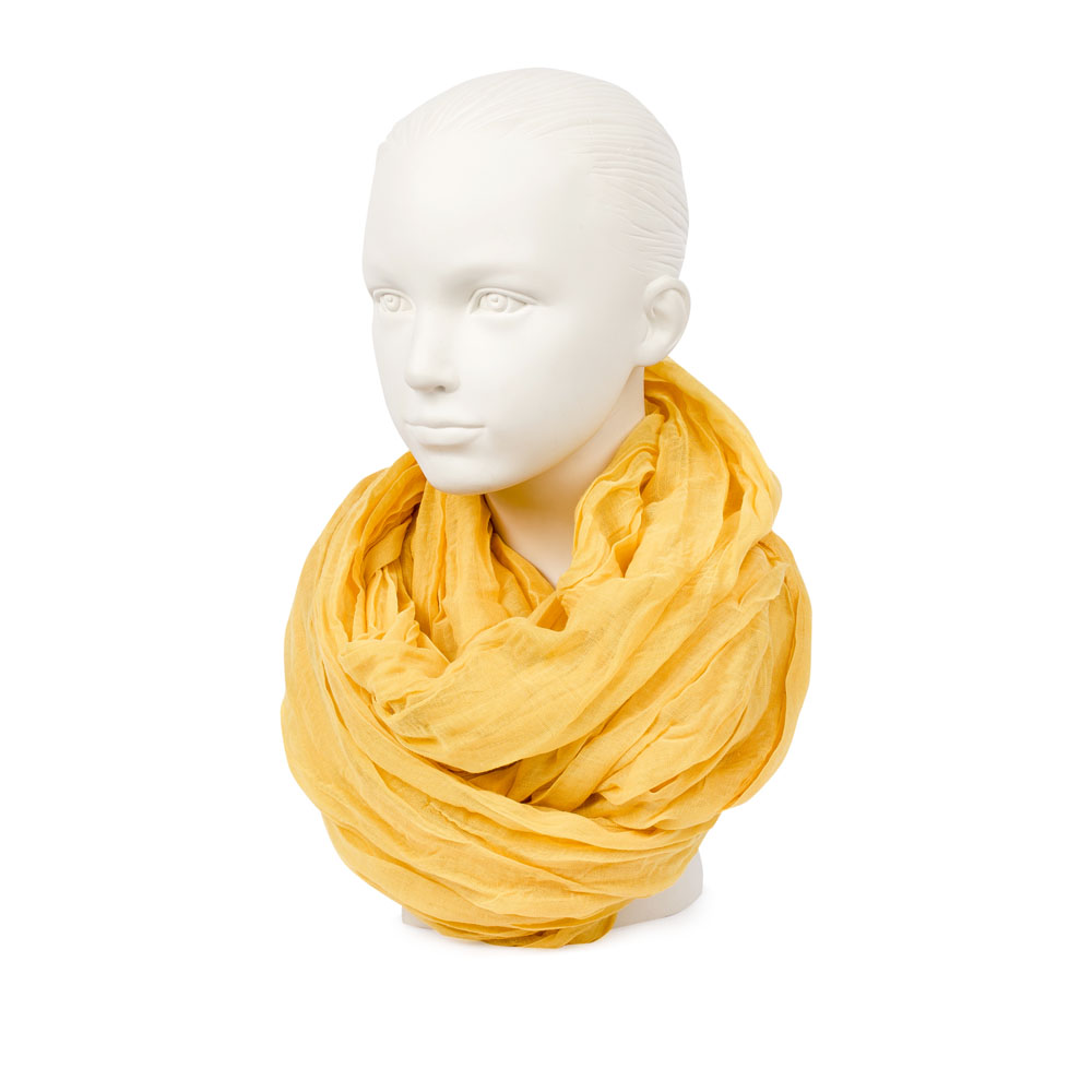 CORSOCOMO Шарф из хлопка солнечно-желтого цвета 77-55-05