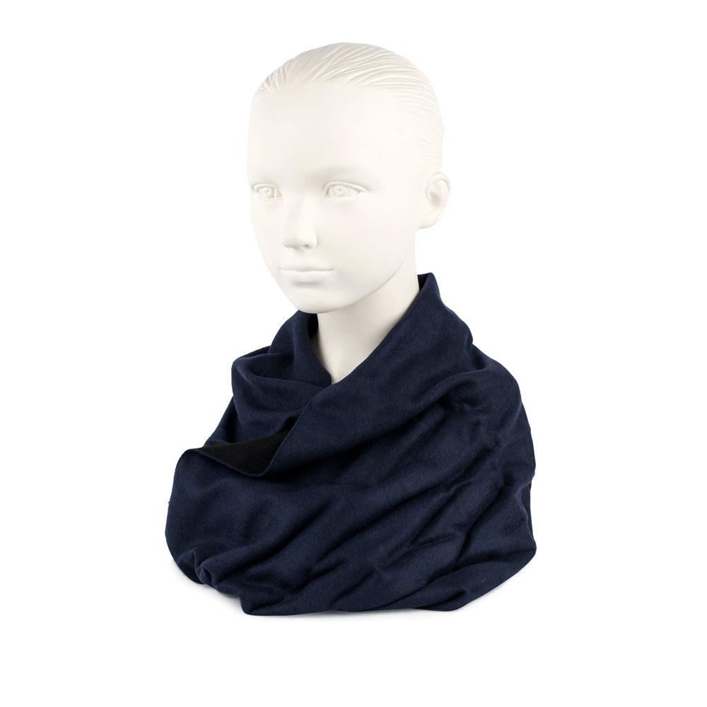 Двусторонний шарф черного и синего цветов