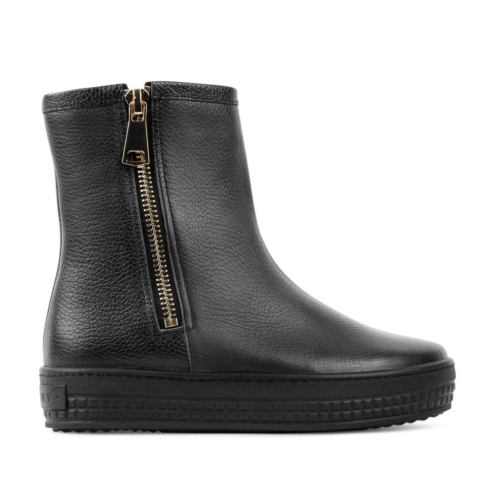 Ботинки из кожи черного цвета на молнии