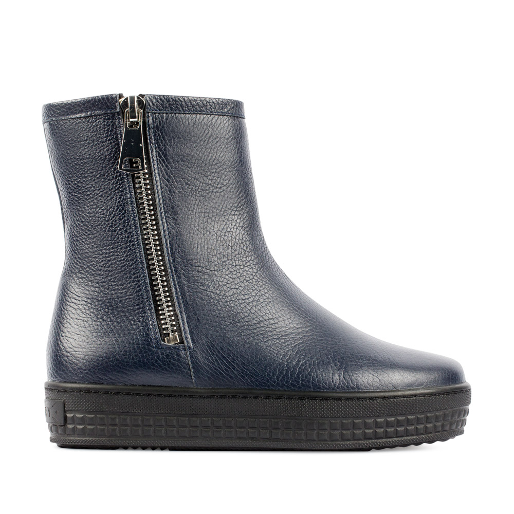 Ботинки из кожи синего цвета на молнии