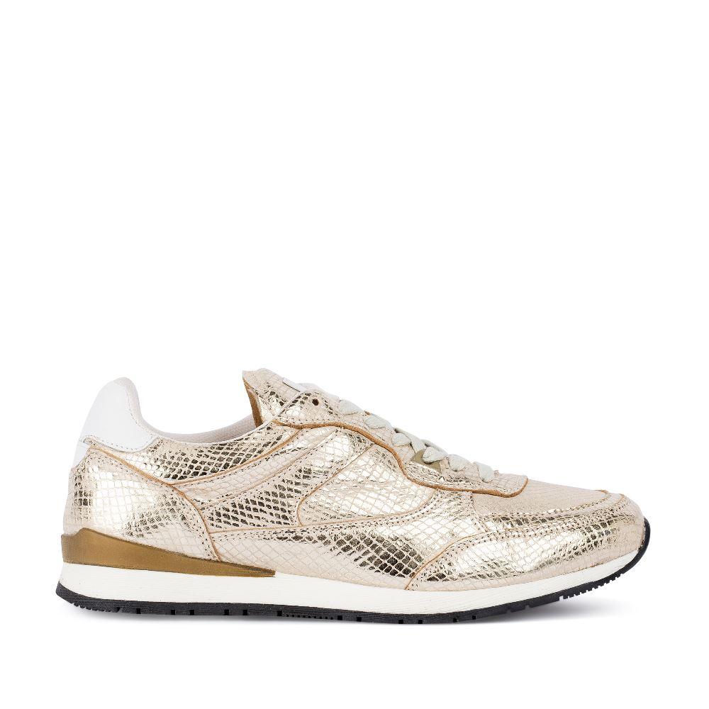 Кроссовки из металлизированной кожи золотого цвета