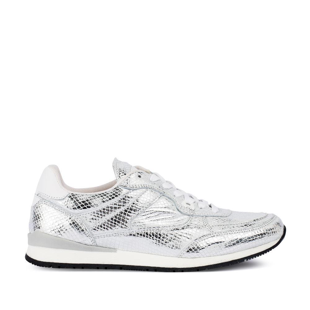 Кроссовки из металлизированной кожи серебряного цвета