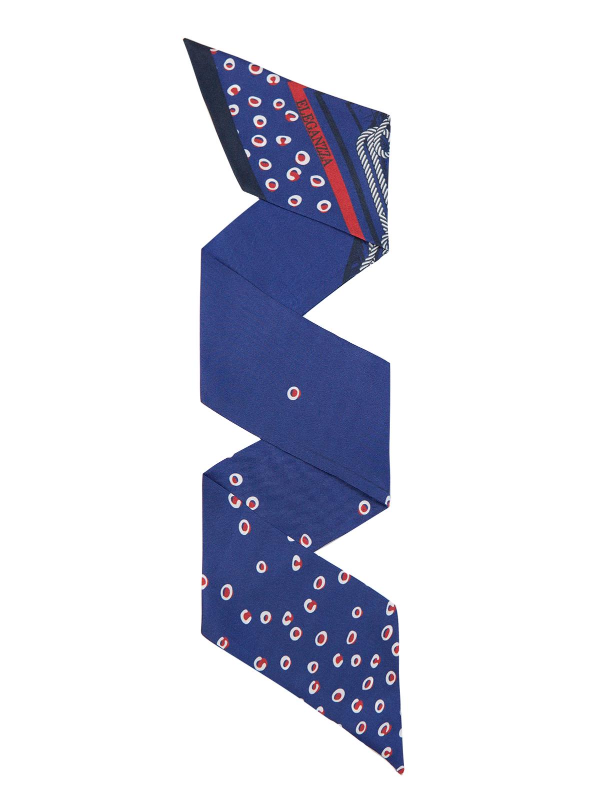 Шарф Eleganzza Шарф из шелка синего цвета с принтом